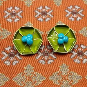 Vintage lime green enamel Lily pad pond flower